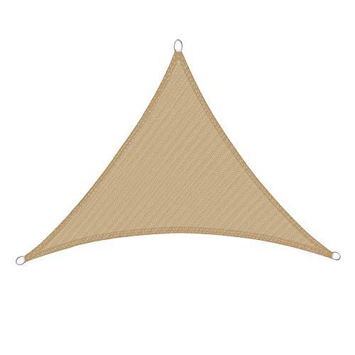 DIANPU Toldo triangular para exteriores, protección UV de HDPE, resistente al viento, para patio, cochera, piscina, sombreado (5 x 5 x 5 m, beige)