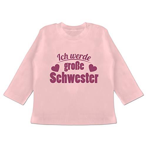 Geschwisterliebe Baby - Ich werde große Schwester - 12/18 Monate - Babyrosa - ich werde große Schwester t-Shirt - BZ11 - Baby T-Shirt Langarm