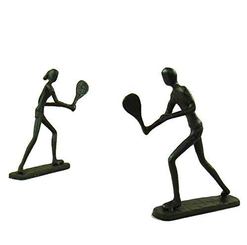 Statue Soprammobile Statuine Decorazione Sculture Statue Soprammobile Statuine Gli Amanti Del Tennis Figurine Giocatori Di Badminton In Ferro Fatti A Mano In Fonderia Mestieri Per La Decorazione