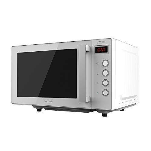 Cecotec Microondas sin plato GrandHeat 2000 Flatbed White. Capacidad 20 litros,Potencia 700 W, Temporizador hasta 60 min, Revestimiento interior cerámico