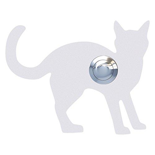 Belknop, design bel, deurbel roestvrij staal gepoedercoat kat, Leo'' wit - Bravios