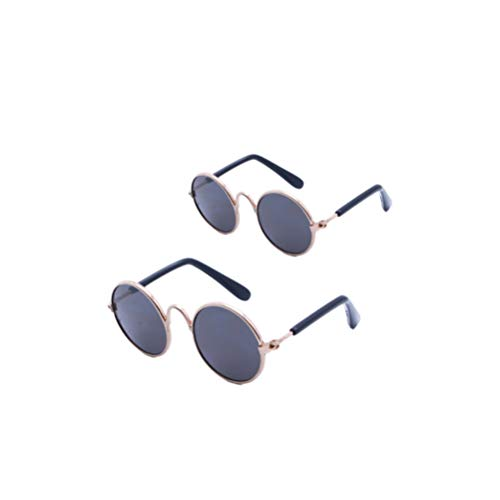 Healifty Pet Sunglasses Dog Cat Eye Protection Funny Cute Round Sunglasses Pet Doll Glasses Dress Up Supplies Photograph Tools for Pet Doll (Black, Size M,L)