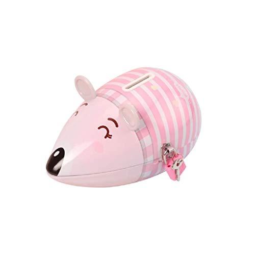 JJZXT Hucha con Monedas de ratón Lindo del Banco Hecha a Mano Metal Moneda Banco Animal Creativo Alcancía, Decorativo del hogar del Ornamento Regalo (Color : Pink)