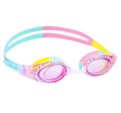 Yuenree Kids Swimming Goggles - Sparkle Swim Goggles for Kids Girls 3-14 - No Leak, Anti-Fog, UV Protection, Easy to Adjust and Non Slip - with Free Premium Protection Box - Light Blue