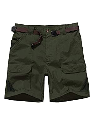 Men's Outdoor Casual Expandable Waist Lightweight Water Resistant Quick Dry Cargo Fishing Hiking Shorts (6018 Army Green 36