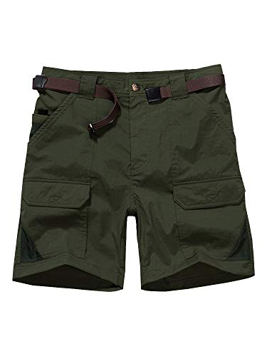 Men's Outdoor Casual Expandable Waist Lightweight Water Resistant Quick Dry Cargo Fishing Hiking Shorts (6018 Army Green 32)