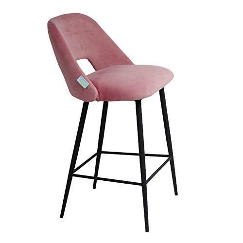 Klassische Theke Höhe Barhocker Stühle mit Rücken, Höhe in der Küche Esstheke Zimmer in Mehreren Farben Stoff Barhockern (Color : Pink)