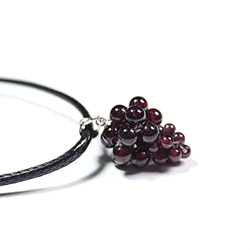 BEISHI 1 UNID Cristal Natural DE Vino Red Rojo Colgante PEQUEÑO PEQUEÑOS Adornos de Collar de UVA (Color : Garnet)