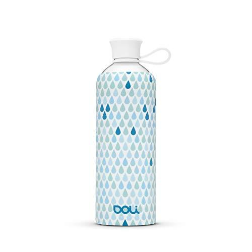 Doli Bottles Trinkflasche Glas für heiße und kalte Getränke 550ml, 100% BPA frei, spülmaschinenfest und auslaufsicher - Deine ideale Glasflasche mit Schutzhülle für unterwegs (Drops, 550ml)