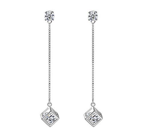 Xx101 Simple Silver Shiny Cube Love Window Zircon Long Borla Cadena Cadena De Azúcar Pendientes Best Gifts para Mujer-2 Nixx0 (Color : 1)