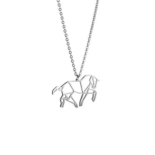 La Menagerie Caballo Plata, Joya de Origami & Collar geométrico Plata Mujer - Collar bañado en Plata de Ley 925 con diseño Animal Caballo - Joyería para niñas y Mujeres