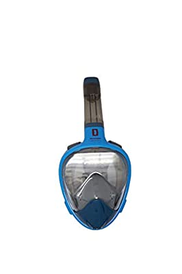 New Dads & Gadgets Full Face Snorkel Mask, Adult/Child -& Folding Tube Easy Breath Set Go Pro Compatible Snorkeling Gear (Blue, Lare/X-Large) by Dads and Gadgets Curated Gifts