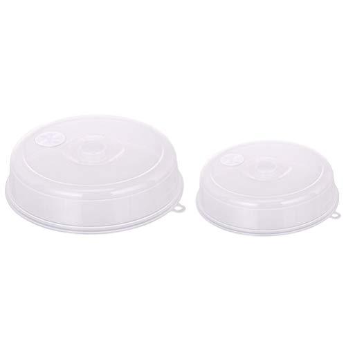Hemoton 2 Stück Mikrowellenabdeckung für Lebensmittel Mikrowellenschutz Schutzdeckel Spritzschutz mit Dampfentlüftung Hält Mikrowelle Sauber (Weiß)