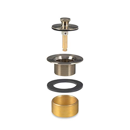 Conversion Kit Bathtub Tub Drain Assembly, Lift and Turn Tub Drain Kit, Brass Construction Easy Installation (Brushed Nickel)