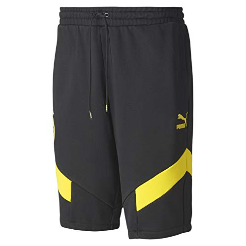 PUMA Herren BVB Iconic MCS Shorts Black-Cyber Yellow, XL