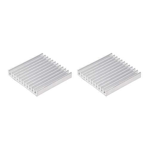 DyniLao 5x35x35mm Silver Tone Aluminum Heatsink Thermal Adhesive Pad Cooler for 3D Printers Cooling 2pcs