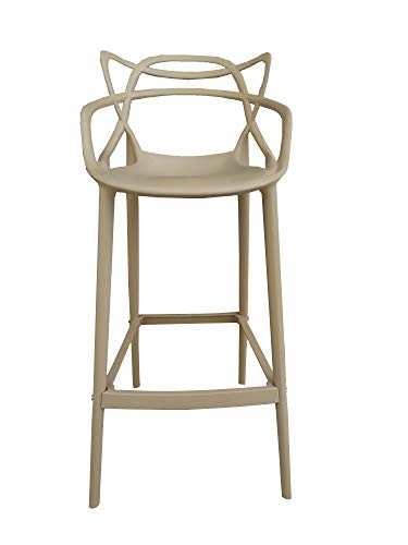 CURVÈ stool in polypropylene resistant for indoors and outdoors SET OF 2 (Taupe)