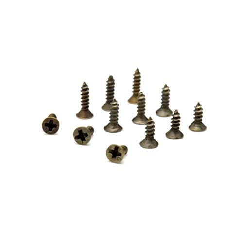 QINGRUI Home Decoration 100st 2 * 6 mm 2 * 7mm 2 * 8mm Flachkopfschraube Carpenter kleine Schraube Möbel aus Holz Box Hardware Zubehör Craft Supplies (Color : Bronze, Size : 2x6mm)