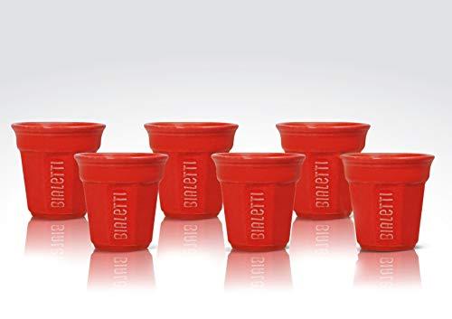 Bialetti Y0TZ503 Espressobecher, Glas, Rot, 6 Stück (1er Pack), 6