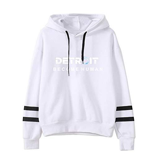 Detroit Become Human Pullover Sexy Pullover Pullover Stampati Felpe Traspiranti Felpe Fantasia Pullover Manica Lunga (Color : White02, Size : L)