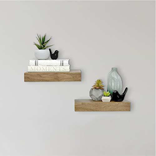 MCS Walnut Woodgrain Floating Shelves, 12 Inch x 8 Inch, Set of 2, 12' x 8'