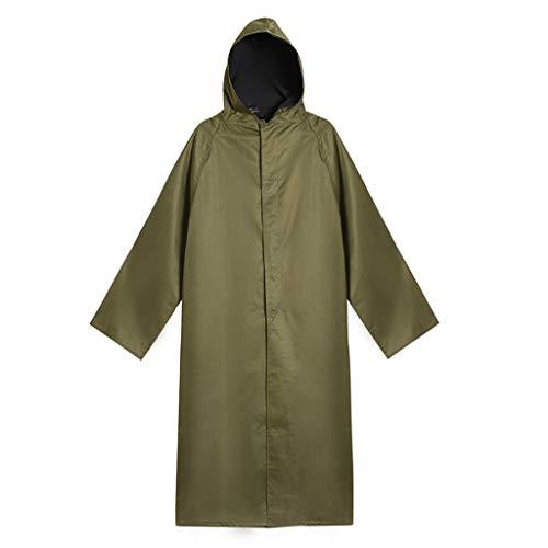 QIYUEYU Regenmantel, Erwachsene Segeltuch-Männer Frauen Langer Abschnitt Mit Einem Hülsen-Gummiregenmantel Zum Der Verdickung Zu Erhöhen (Militärgrün)