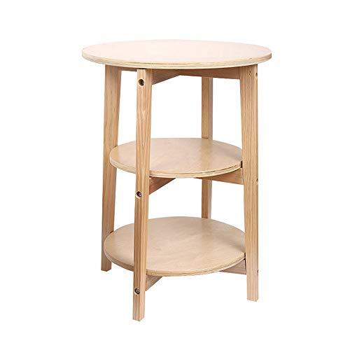 Petite table basse moderne moderne en bois massif blanc nordique Petite table ronde de coin Plusieurs tables d'appoint de table de chevet de canapé Rangement multifonctionnel 3 couches de diamètre 45,