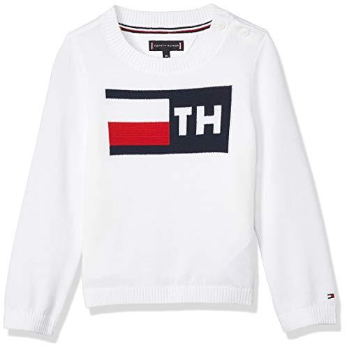 Tommy Hilfiger Baby-Jungen TH Sweater Sweatshirt, Weiß (Bright White 123), (Herstellergröße:62)