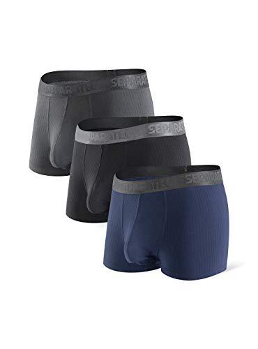 Separatec Herren Boxershorts Glattes Bambus-Rayon mit separaten Beuteln Unterwäsche Boxershorts Stilvolle Badehose, 3er-Pack M Kurze Beine: Schwarz+ Dunkelgrau+ Dunkelblau