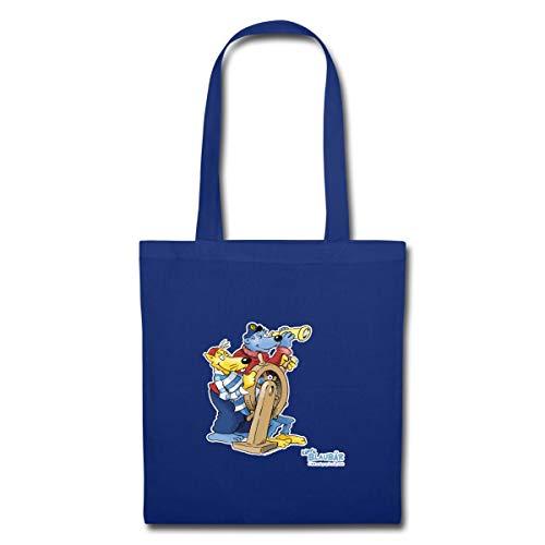 Spreadshirt Käpt'n Blaubär Hein Blöd Steuerrad Stoffbeutel, Royalblau