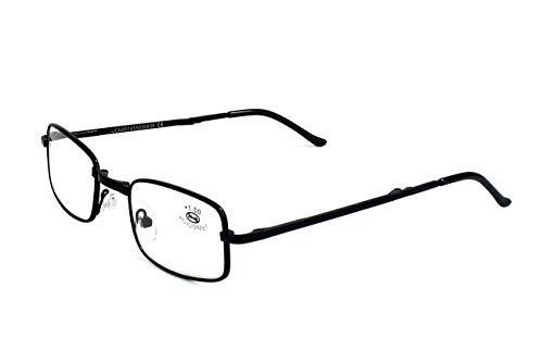 Gafas Plegables de Lectura Vista Cansada Presbicia, Graduadas Dioptrías +1.00 hasta +4.00, Gafas de Hombre y Mujer Unisex con Montura Fina, Bisagras Standard, Para Leer, Ver de Cerca (2.0 x, Negro)