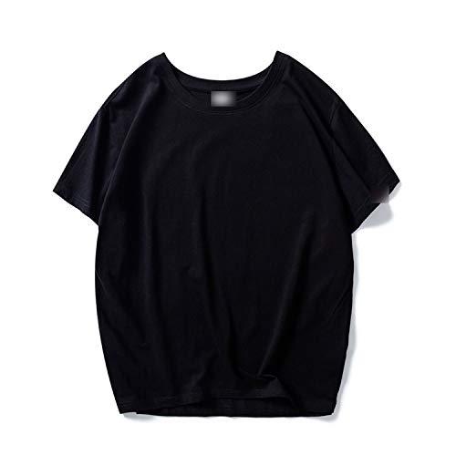 Maglietta da donna a maniche corte, in cotone, stile asiatico, colore: nero/bianco nero XXL