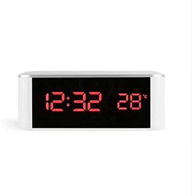 Shuangklei Reloj Despertador con Espejo Led Reloj Despertador con Termómetro Electrónico Reloj con Brillo Reloj Ajustable