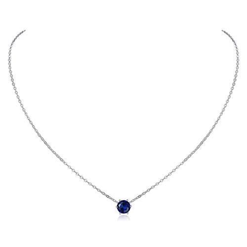 ChicSilver Septiembre Collar Colgante Redondo Decorativo Cuello Piedras de 12 Meses Joyería Antialérgica Plata de Ley 925 para Mujer Diamantes de Nacimiento Zafiro Azul Oscuro