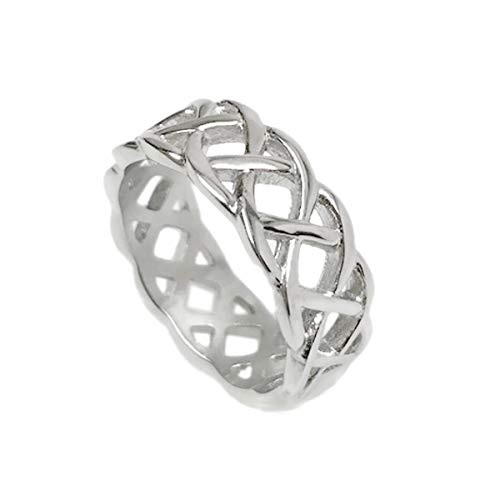 Loralyn Designs Mens Silver Braided Stainless Steel Celtic Knot Band Ring Love Wedding Non Tarnish (Size 11)