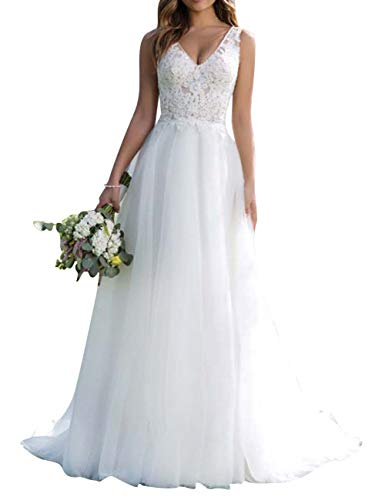 Brautkleid Lang Hochzeitskleider Damen Brautmode Tüll Spitze V-Ausschnitt A-Linie Weiß EUR34