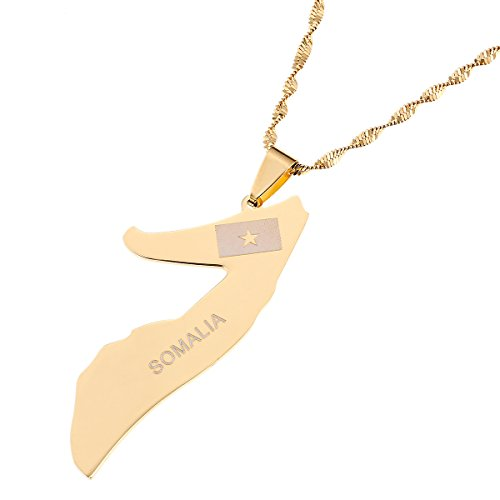 Somalia Map Flag Gold Color Necklace Gold Color Jewelry Soomaaliya Jewelry