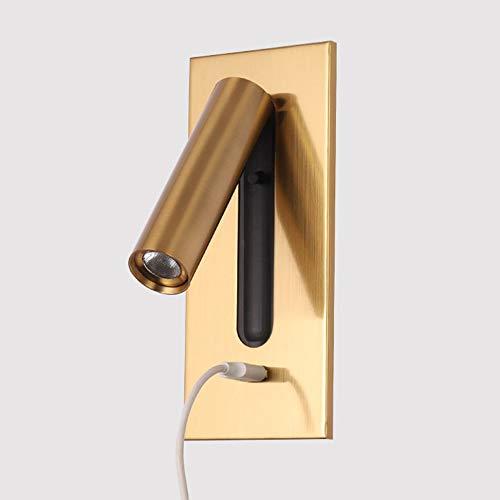 Crayom Lámpara de Lectura Estilo Europeo Foco de Pared Simple Arriba y Abajo Izquierda y Derecha Giratoria LED 3W Lámpara de Pared de Lectura Carga USB Interruptor Oculto para la luz de Noche del