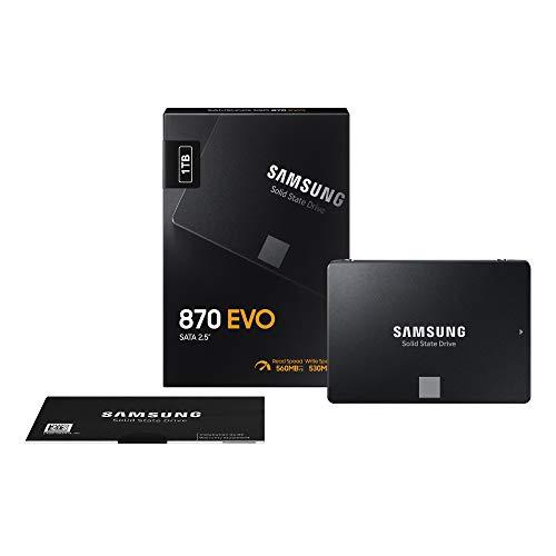 """Samsung SSD 870 EVO, 1 TB, fattore di forma 2,5"""", scrittura turbo intelligente, software Magician 6, nero (SSD interno)"""