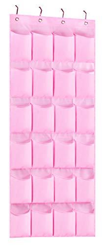 KIMBORA Hanging Shoe Organizer with 24 Large Fabric Pockets Over The Door Shoe Rack for Kids Girl Women Closet, Pink