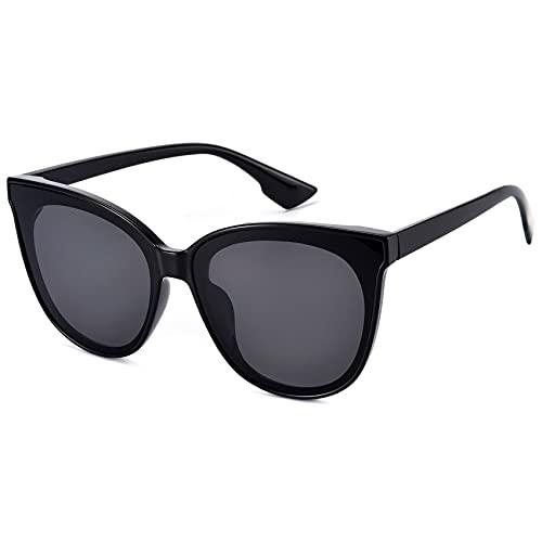mosanana Trendy Cat Eye sunglasses for women cateye black dark no rim square round oversize angular fashion stylish trending retro big thick narrow modern popular shade lady vintage large 2020 MS51802