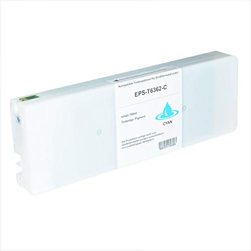 Tintenpatrone kompatibel für Epson Stylus T6362 C13T636200 Pro WT 7700 7890 7900 9700 9890 9900 SpectroProofer UV Series EFI - Cyan 700ml