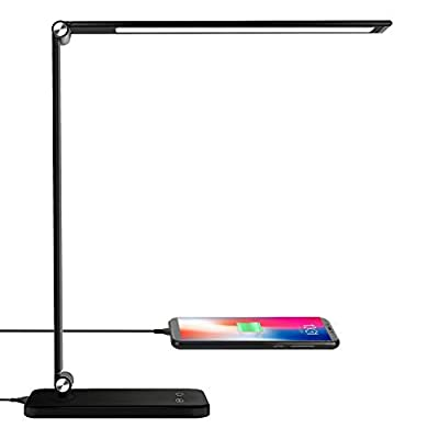 AOBISI LED Desk Lamp, Office Desk Lamp with USB Charging Port, Aluminum Body 5 Lighting Modes with 3 Brightness Levels, Angle Adjustable, Touch Control, Eye-Caring for Study, Working