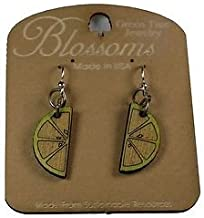 Green Tree Jewelry Lime Wedge Blossoms Wood Wooden Earrings #151