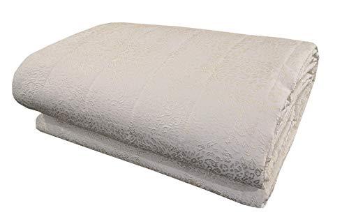 Laura Biagiotti Colcha de verano para cama de matrimonio de 2 plazas, 260 x 270 cm, tejido jacquard (piedra de luna marfil)