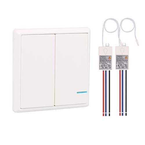 Kit de interruptor de iluminación inalámbrico, 1 conmutador doble con 2 receptores