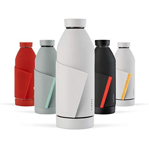 Closca Botella de Agua de Cristal 420ml Bottle. Cantimplora de Vidrio Libre de BPA. Doble Apertura y Solapa Elástica para fácil Transporte. (White/Nude)