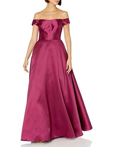 ML Monique Lhuillier Women's Off The Shoulder Ball Gown, Raspberry, 4