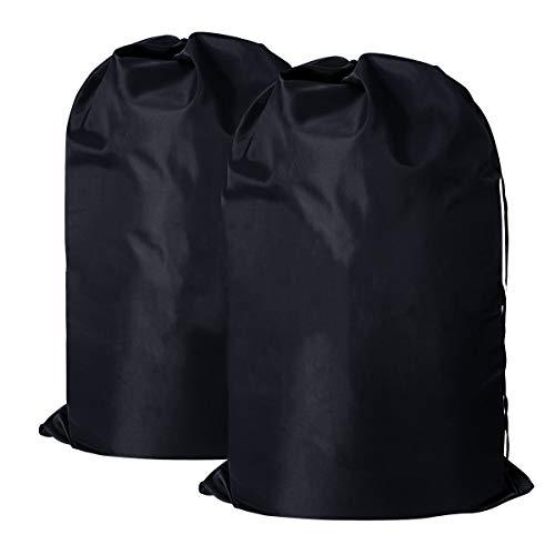 Amazonブランド] Umi.(ウミ) ランドリーバッグ セット ランドリーバッグ ランドリーバスケット 巾着袋 大サイズ 収納袋 旅行用 バッグ 折りたたみ式 おもちゃ収納袋 洗濯物入れ 収納ポーチ(ブラック2パック)