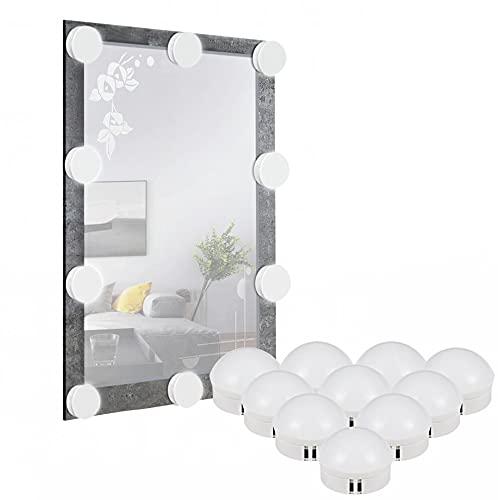 CXYP Luces para Espejo de Maquillaje LED Lámpara de Espejo de Tocador con Estilo Hollywood 10 Piezas Bombillas Regulable , 10 Niveles de Brillo y 3 Modos de Color [Clase de eficiencia energética A]